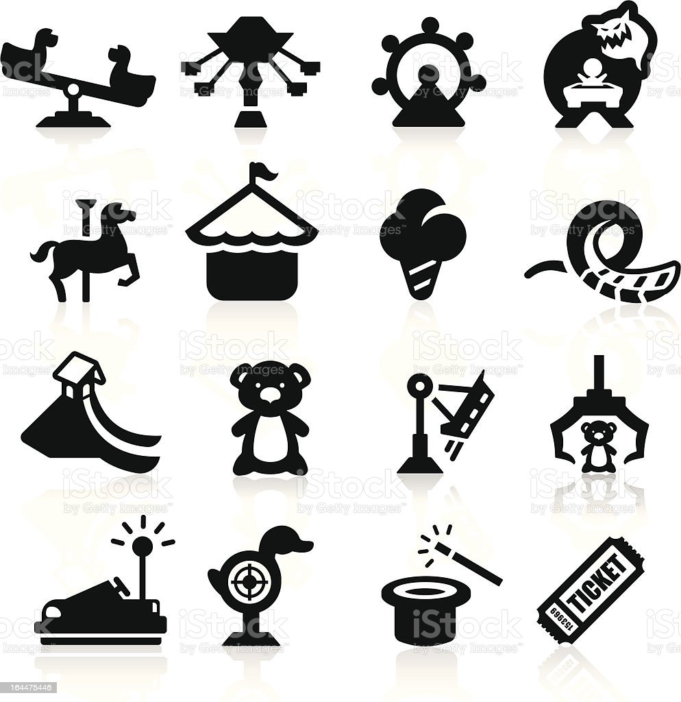 Amusement Park icons set elegant series royalty-free stock vector art