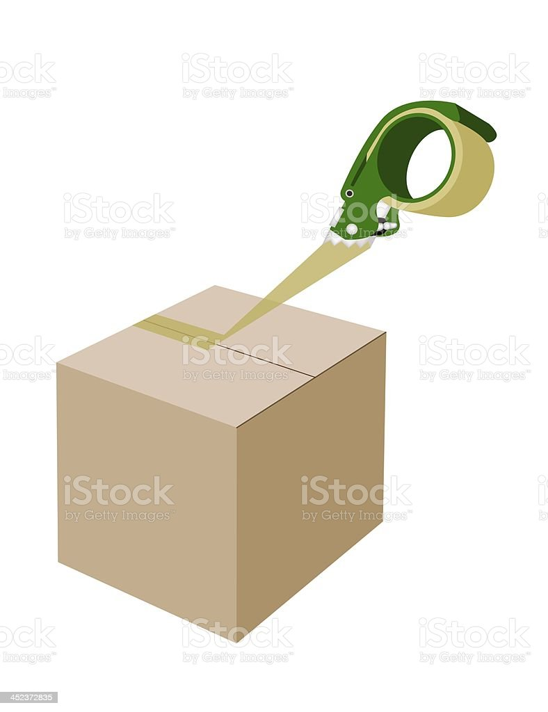 An Adhesive Tape Dispenser Closing A Cardboard Box royalty-free stock vector art