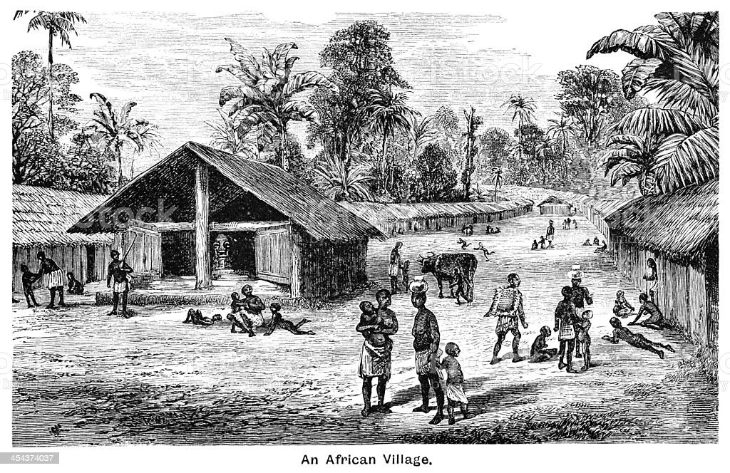 An African village - Victorian engraving royalty-free stock vector art