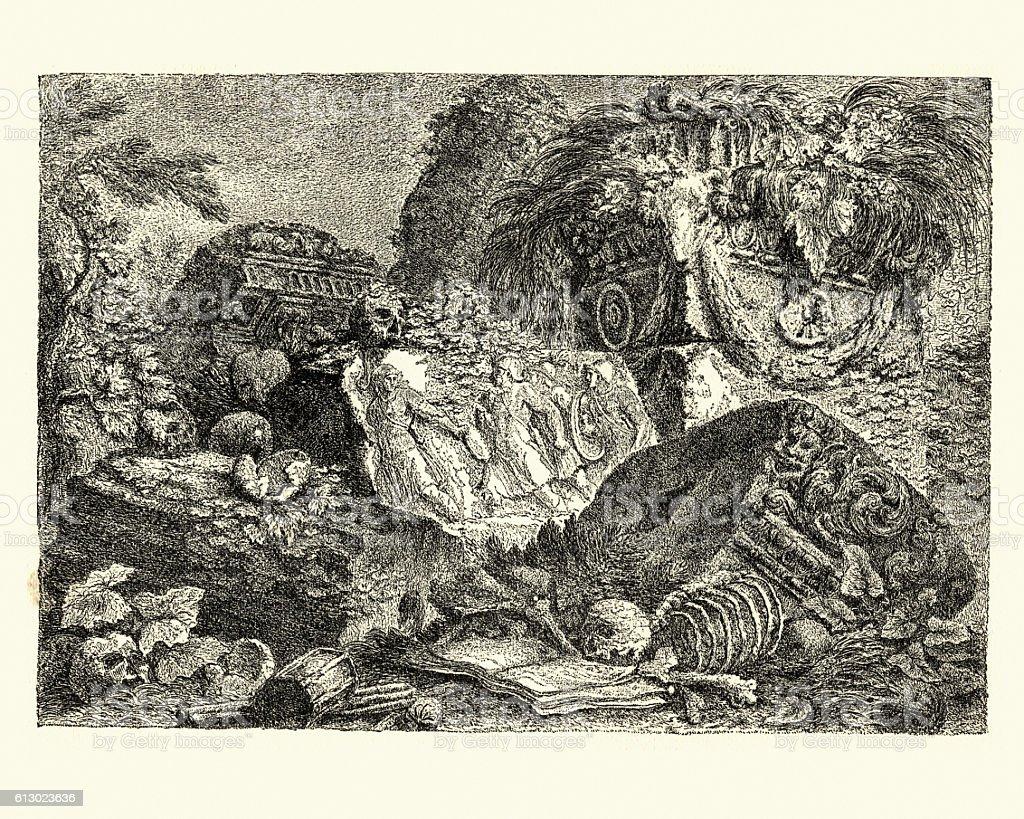 An Ancient Altar by Giovanni Battista Piranesi vector art illustration