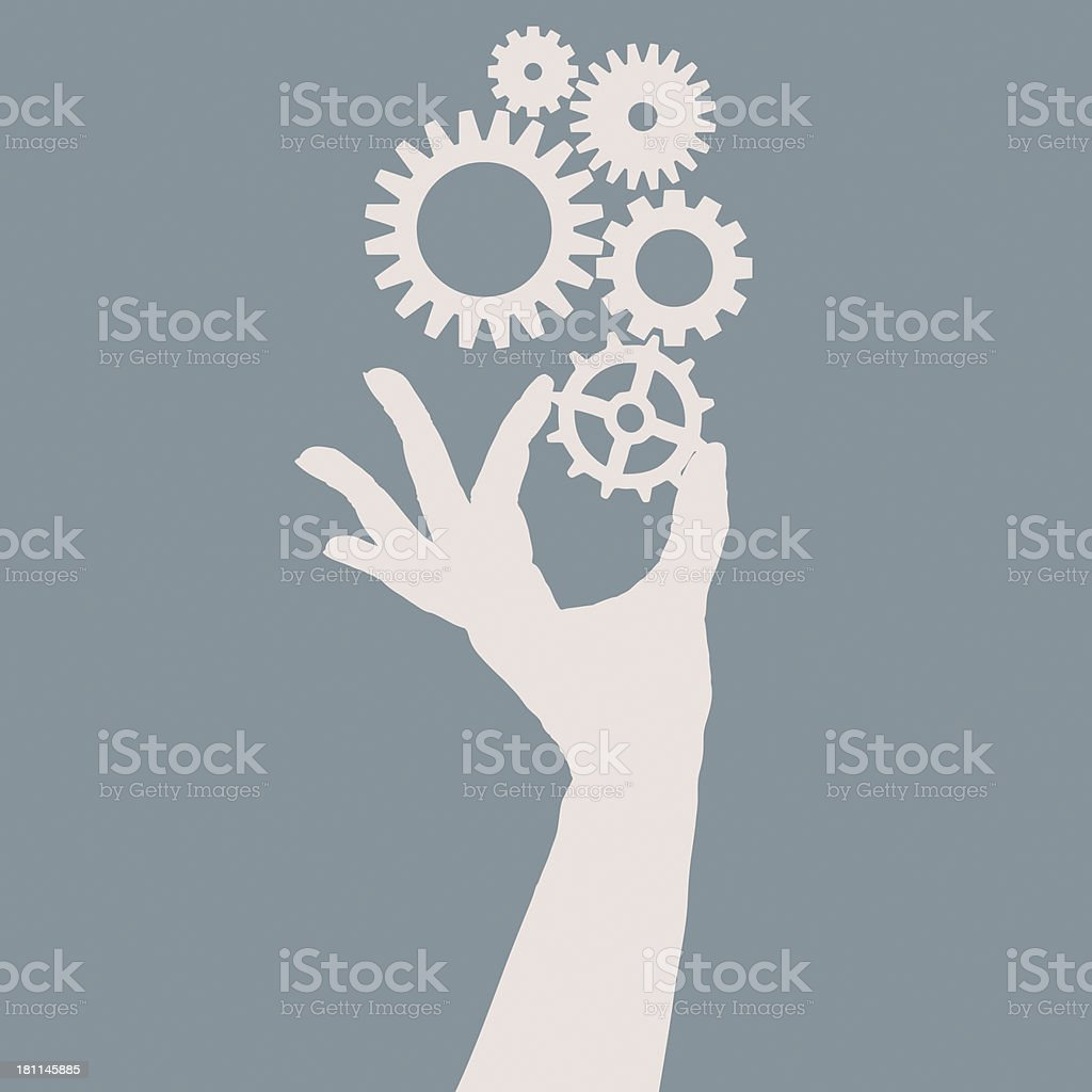 An illustration design of a hand holding a cogs and gears royalty-free stock vector art