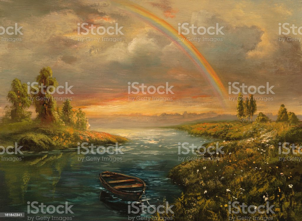 An illustration of a mystical land and a rainbow royalty-free stock vector art