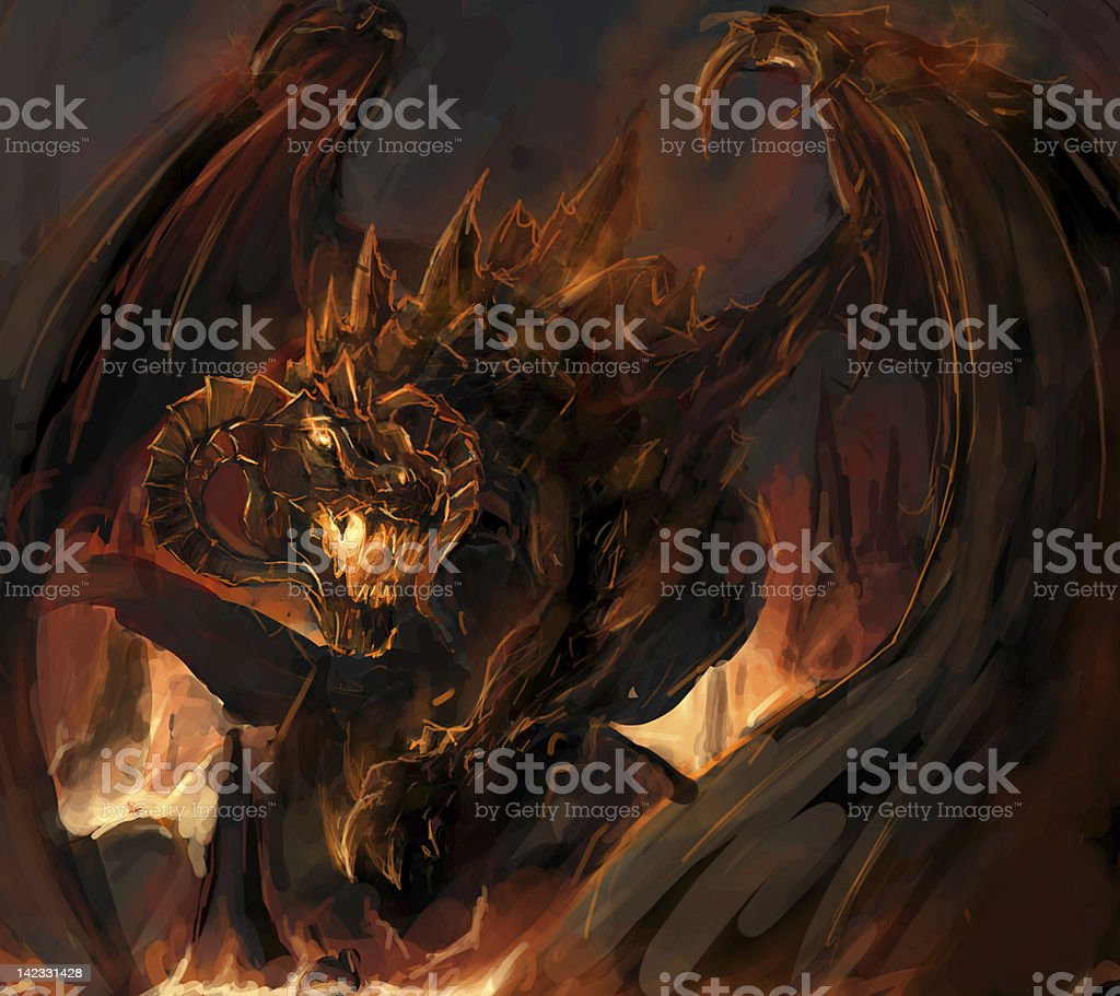An illustration of an angry dragon vector art illustration