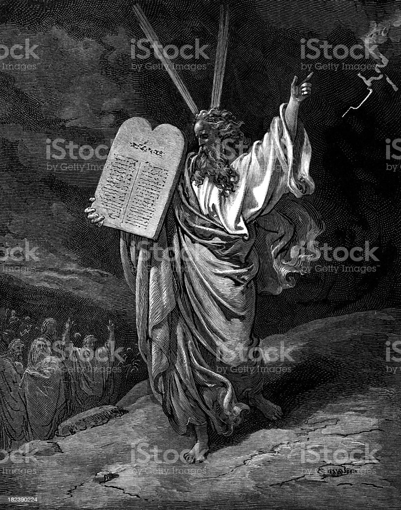 An illustration of Moses holding a stone tablet vector art illustration
