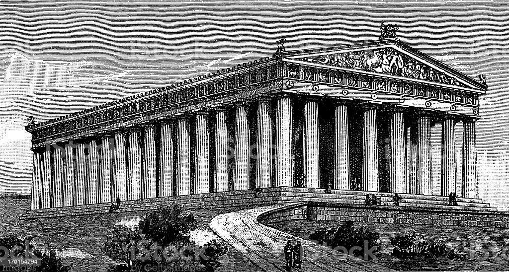 An illustration of Parthenon in black and white vector art illustration
