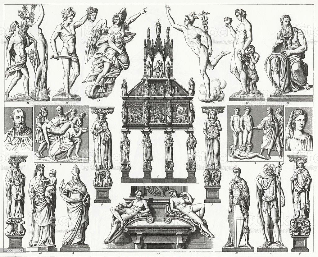 An illustration of Renaissance sculpture from 1851. vector art illustration