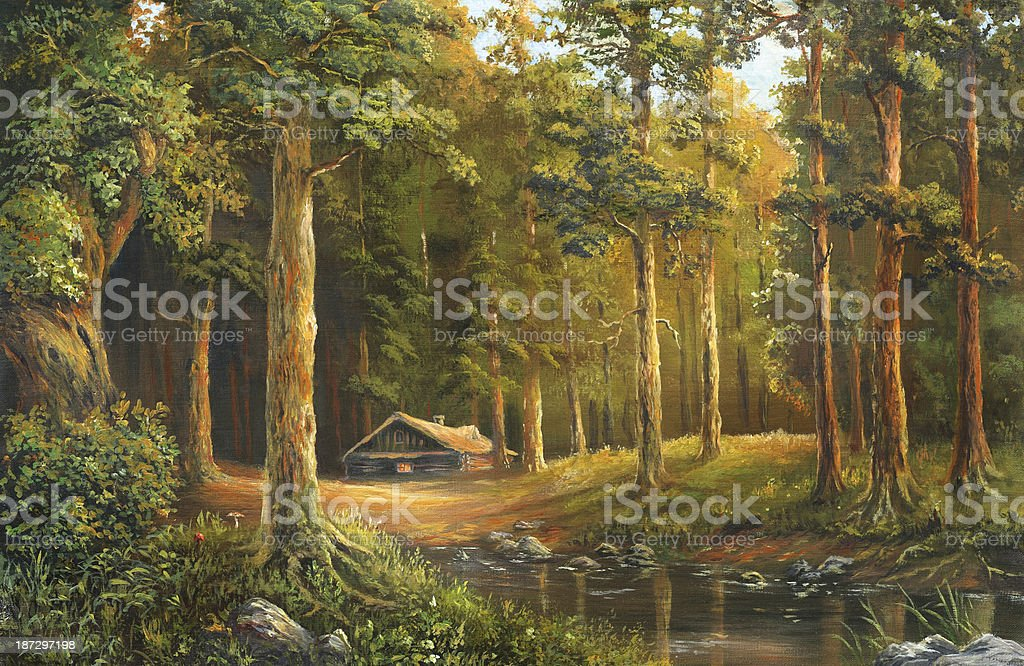 An oil painting of a wooden cabin in a forest clearing vector art illustration