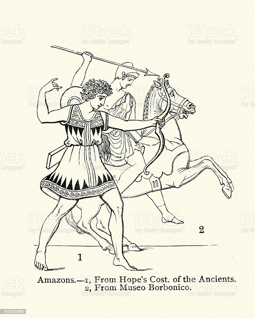 Ancient Amazon Warriors vector art illustration