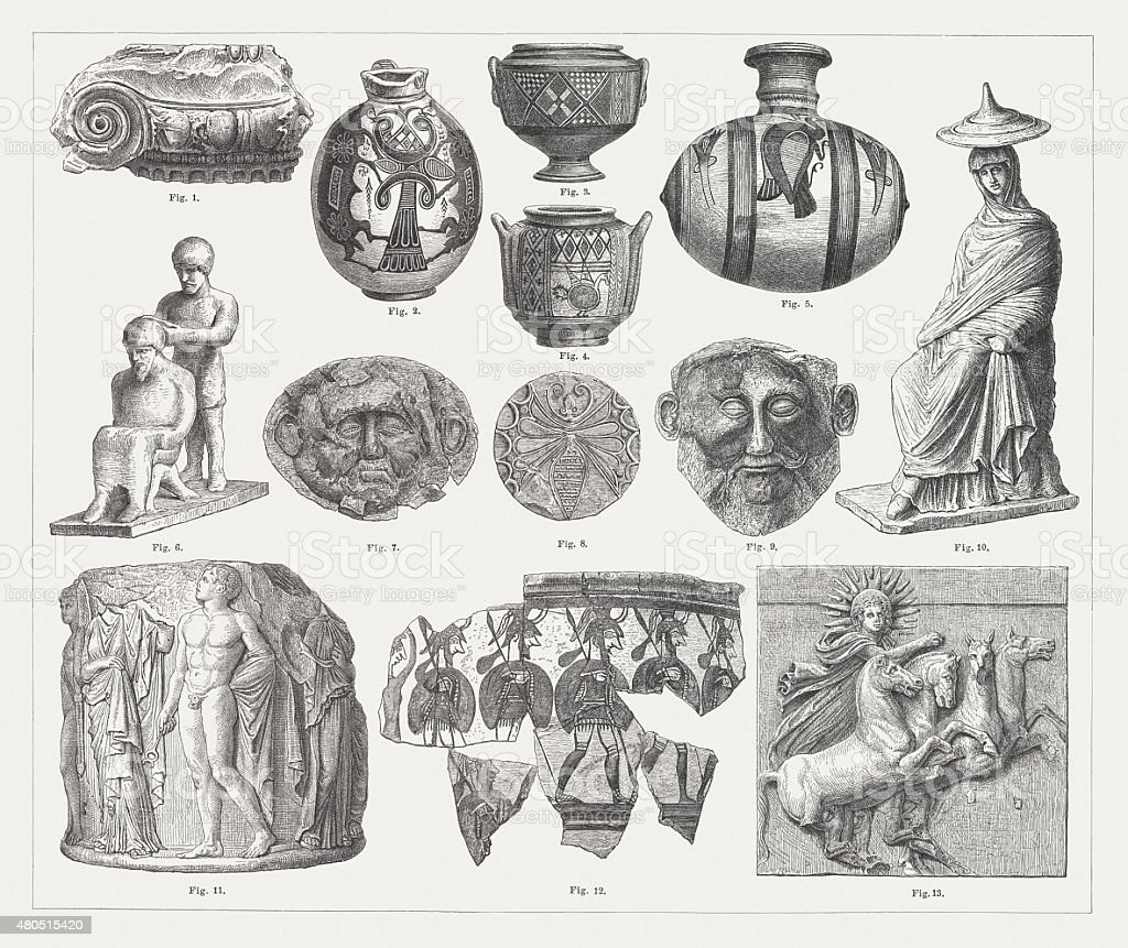 Ancient archaeological artefacts, published in 1880 vector art illustration