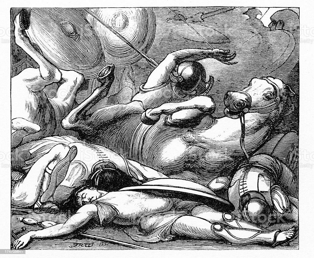 Ancient Battlefield - Battle of Lake Regillus vector art illustration