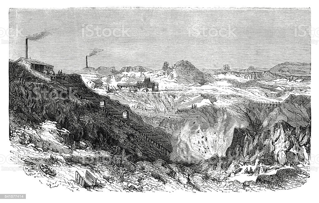 Ancient bed of calamine in the open air (antique engraving) vector art illustration