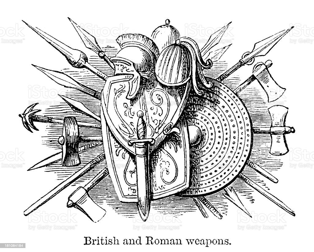 Ancient British and Roman Weapons royalty-free stock vector art