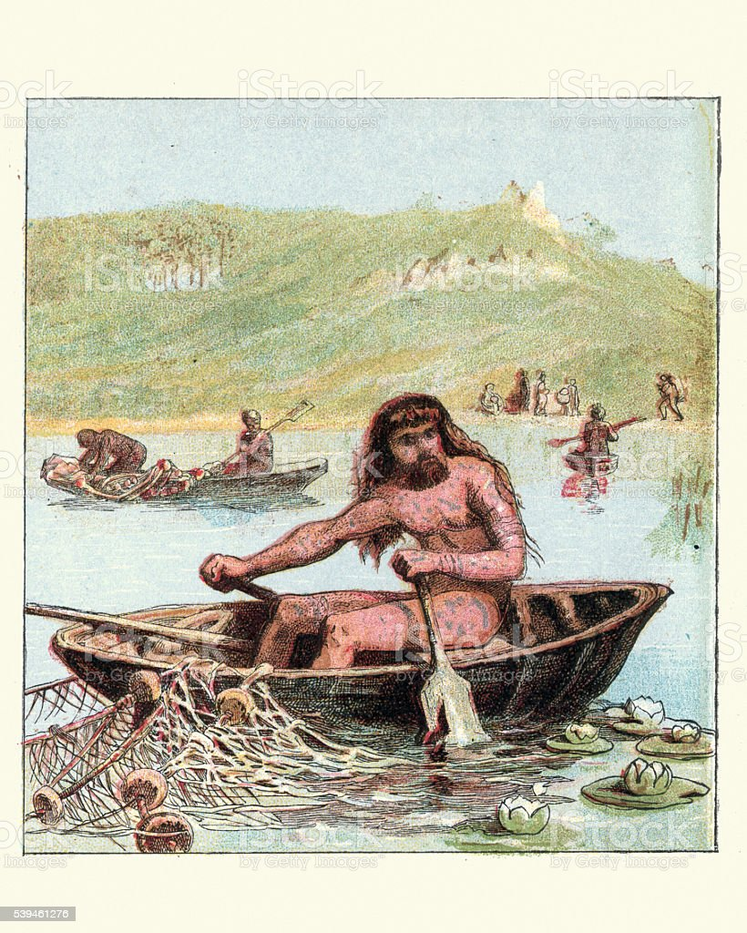 Ancient Briton fishing from a Coracle boat vector art illustration