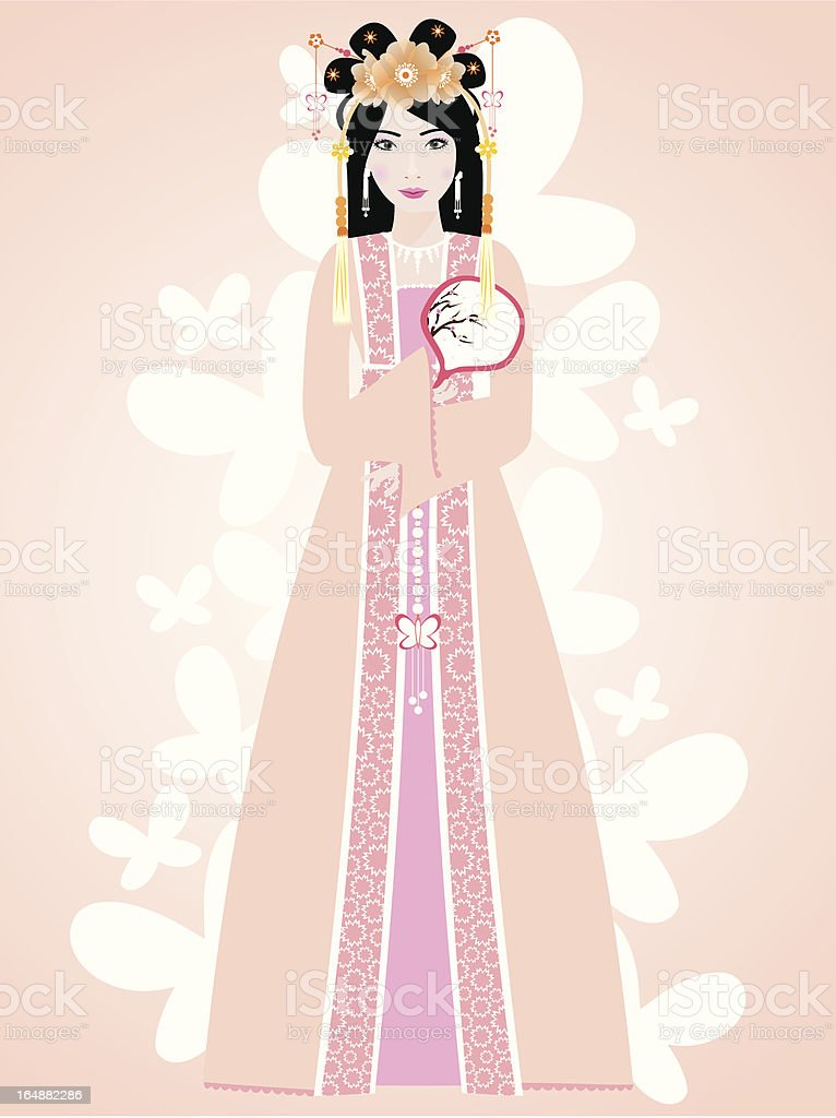 Ancient Chinese Girl royalty-free stock vector art