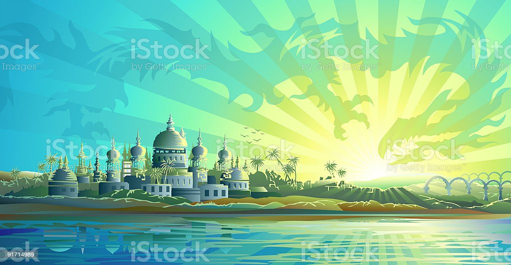 Ancient city and a sky dragon royalty-free stock vector art