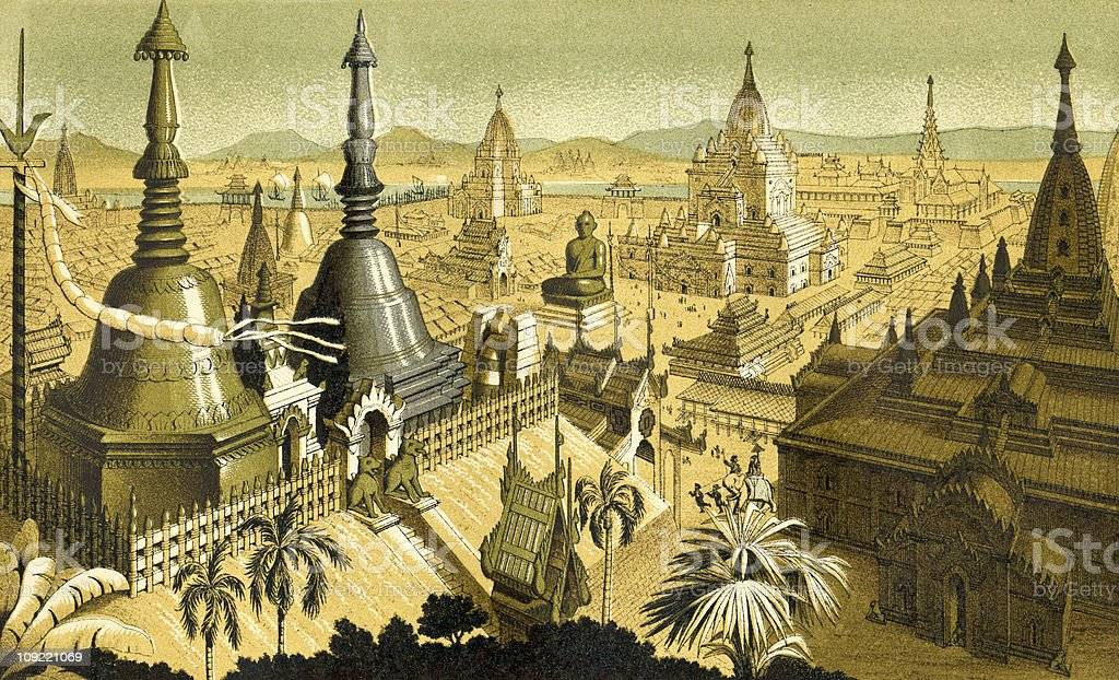 Ancient City of Mien, Burma with Gold and Silver Towers vector art illustration