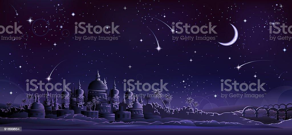 Ancient city under crescent moon royalty-free stock vector art