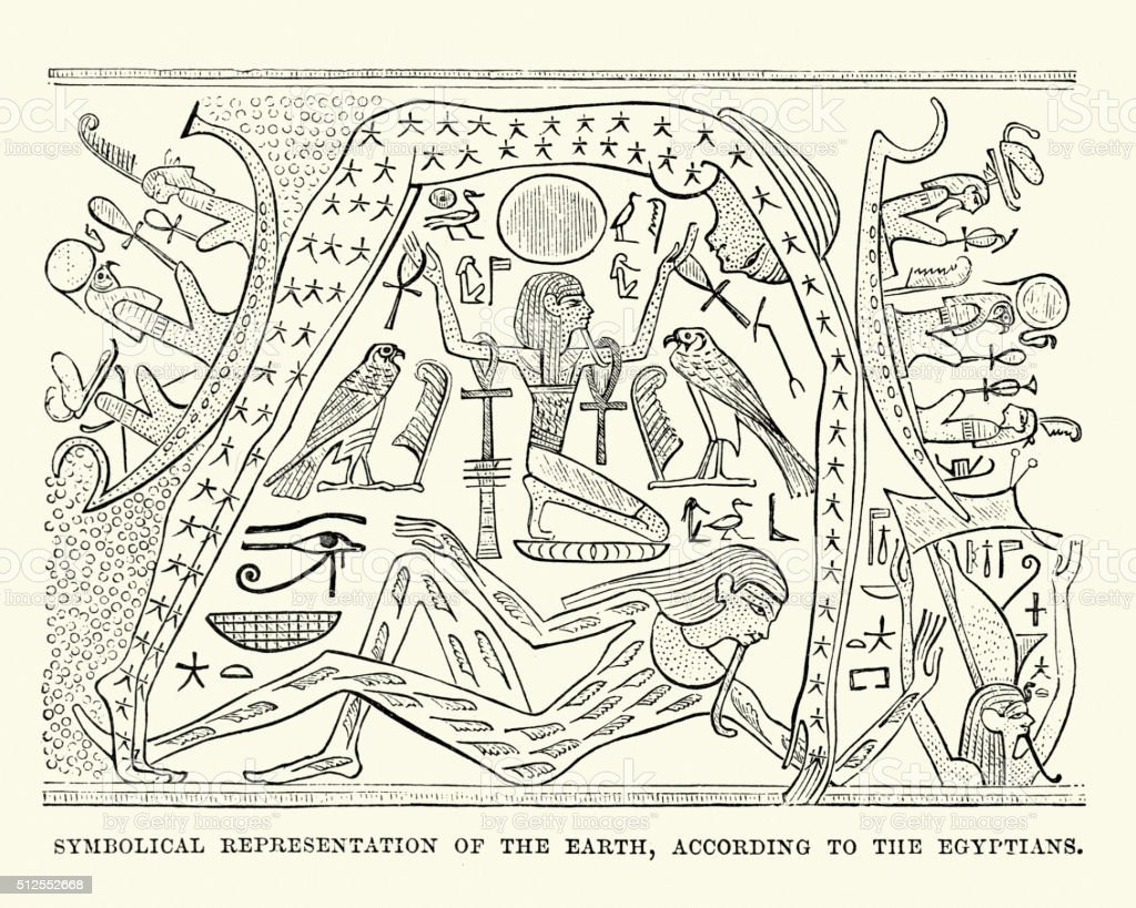 Ancient Egptian representation of the world vector art illustration