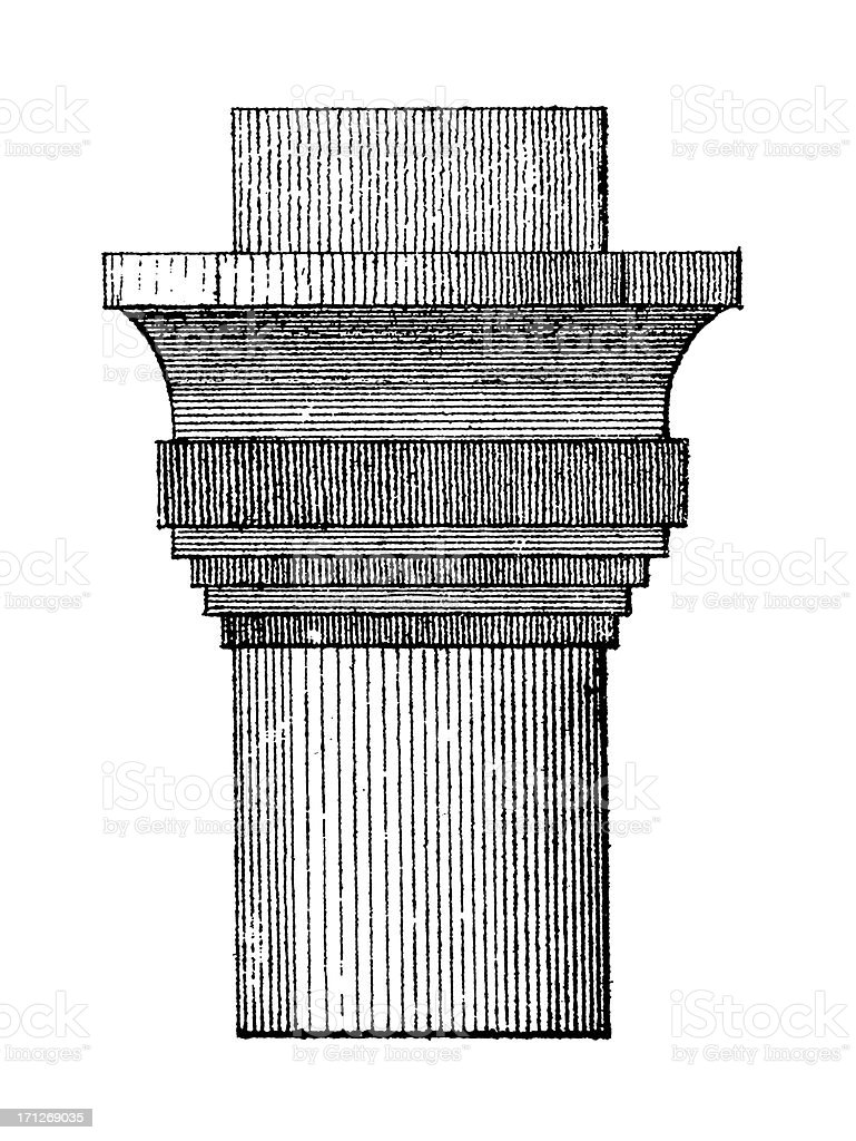 Ancient Egyptian Column Capital | Antique Architectural Illustrations royalty-free stock vector art