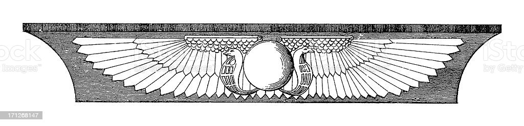Ancient Egyptian Frieze | Antique Architectural Illustrations royalty-free stock vector art