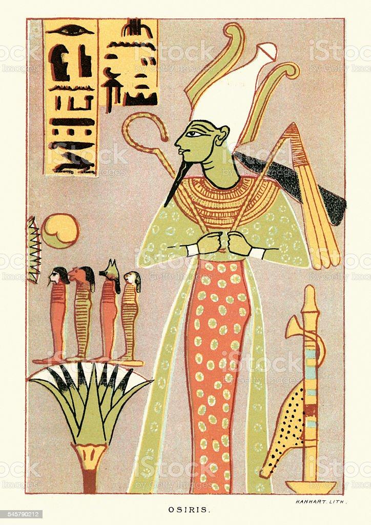 Ancient egyptian god Osiris vector art illustration