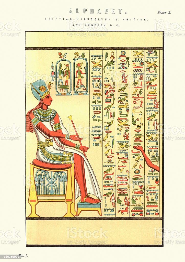 Ancient Egyptian Hieroglyphic writing vector art illustration