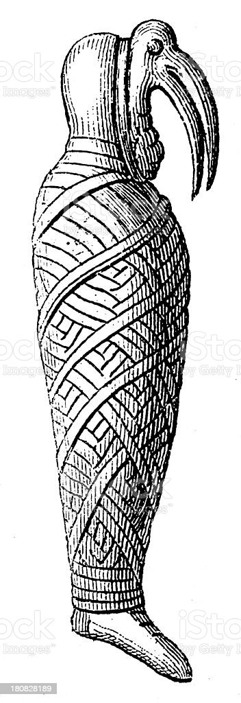 Ancient Egyptian mummy (antique wood engraving) royalty-free stock vector art
