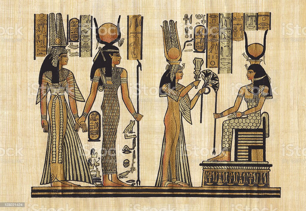 ancient Egyptian papyrus vector art illustration