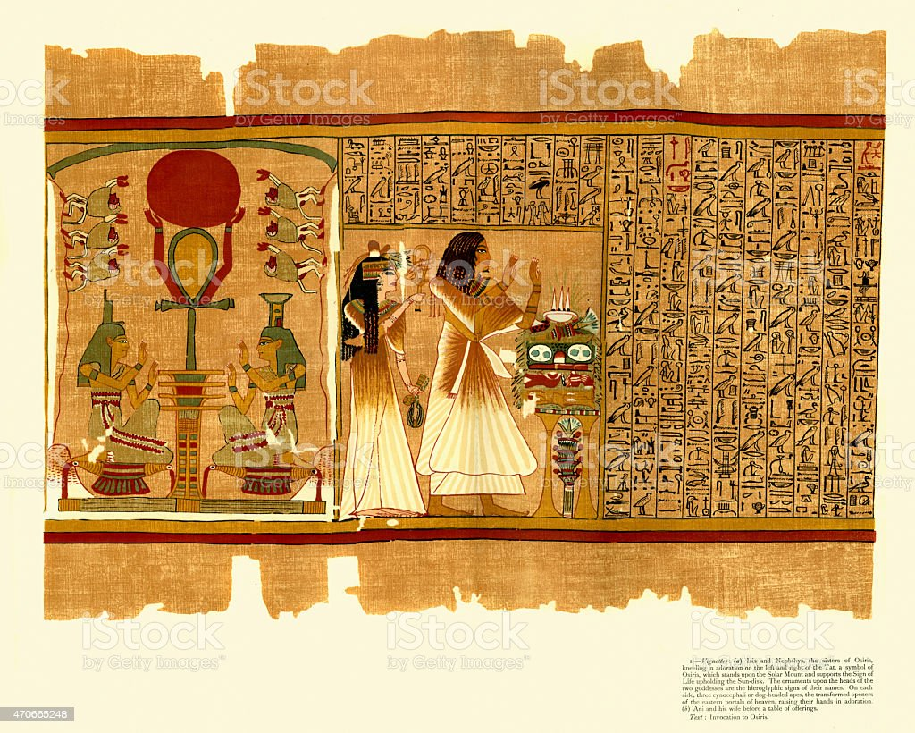 Ancient Egyptian Papyrus of Ani - Book of the Dead vector art illustration