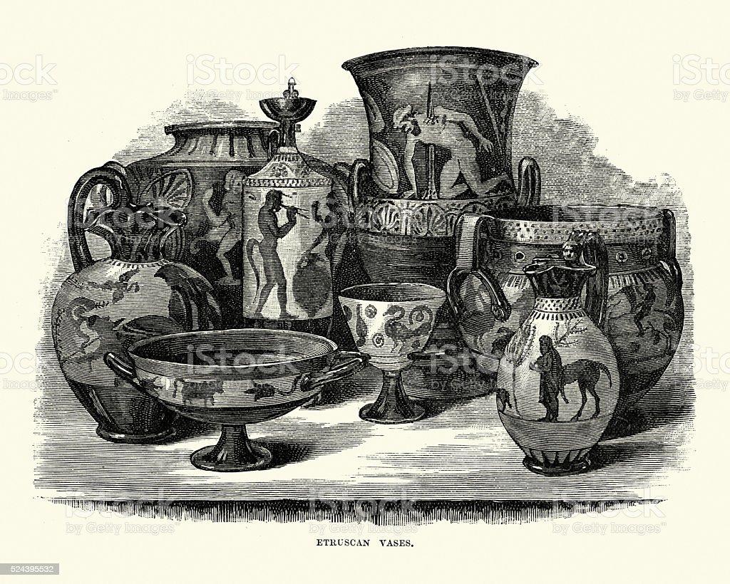 Ancient Etruscan Vases vector art illustration
