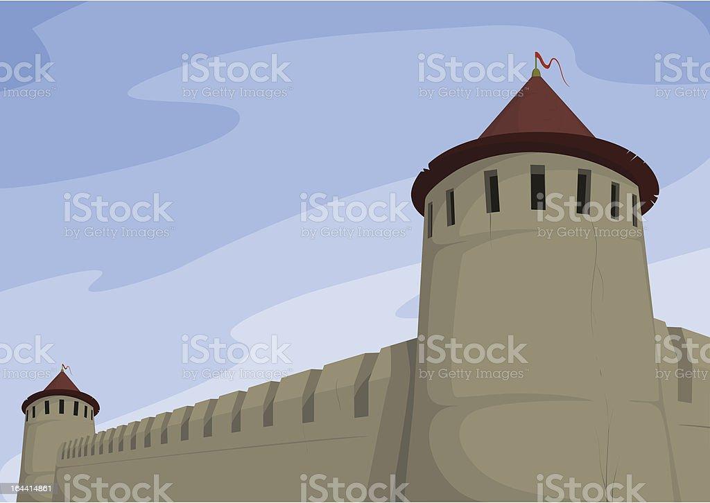 Ancient fortress vector art illustration