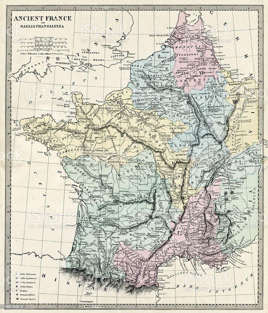 Ancient France Map vector art illustration
