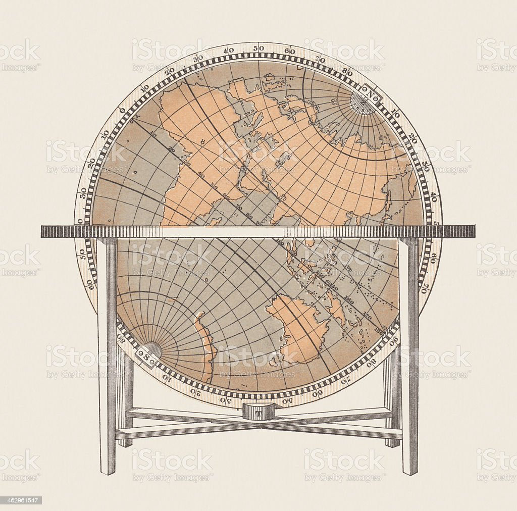 Ancient globe with coordinates, lithograph, published in 1868 vector art illustration