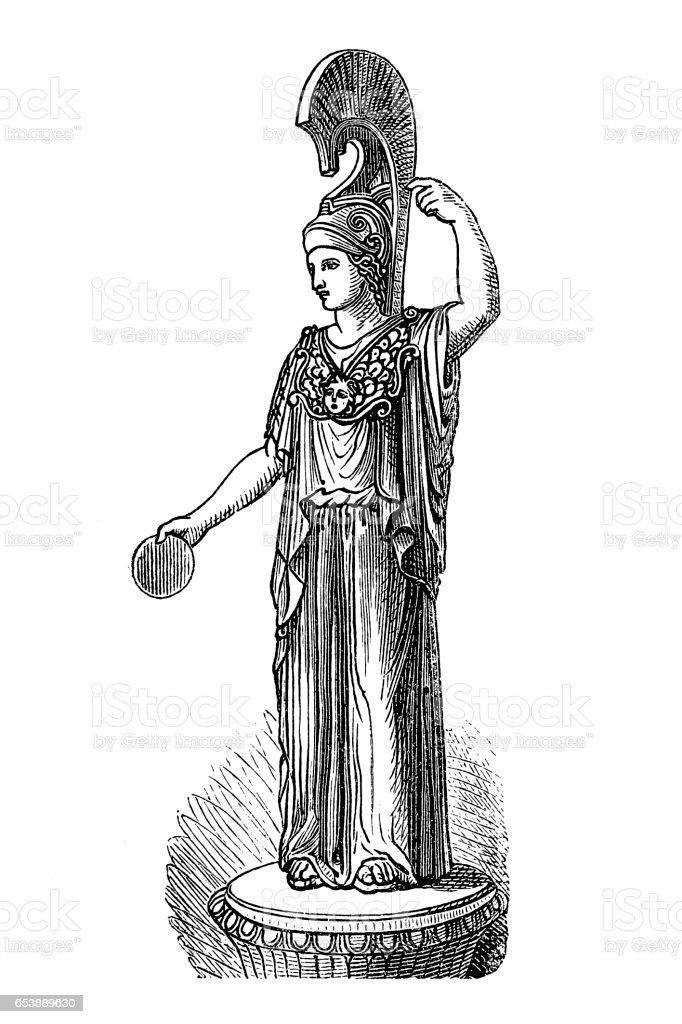 Ancient Goddess Minerva vector art illustration