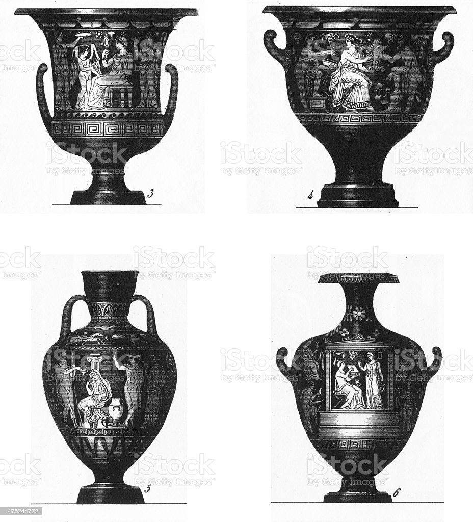 Ancient Grecian and Egyptian Urn Engravings stock photo