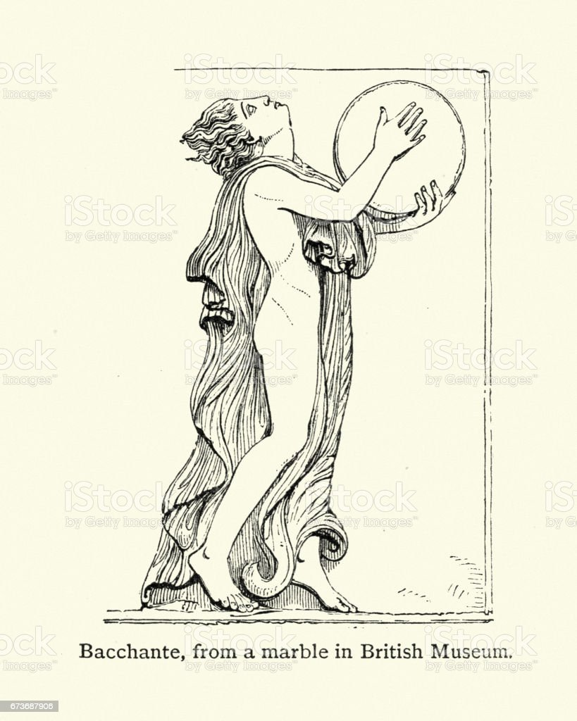 Ancient Greece - Bacchante or Maenad vector art illustration