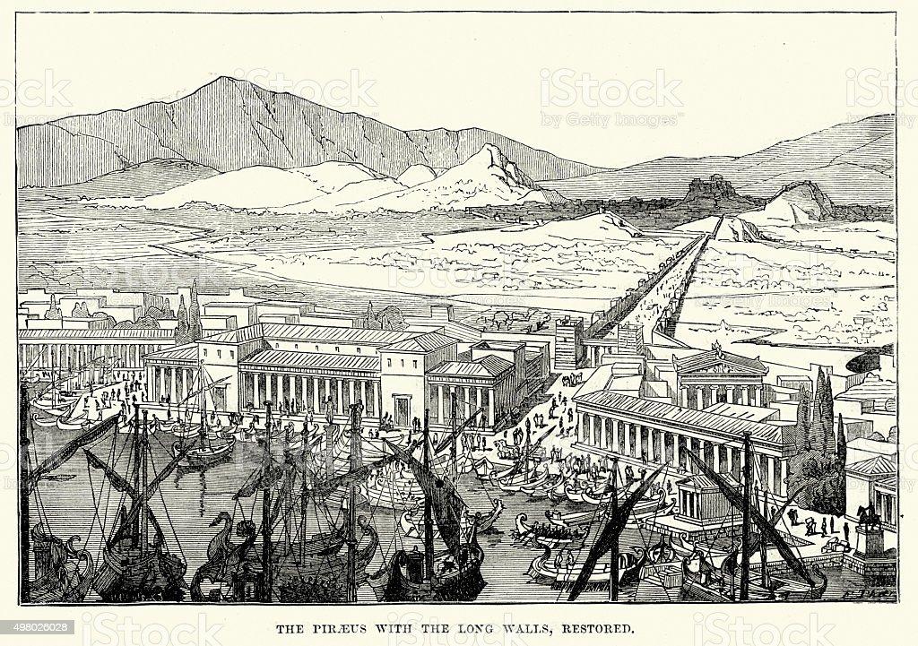 Ancient Greece - Piraeus with the Long Walls vector art illustration