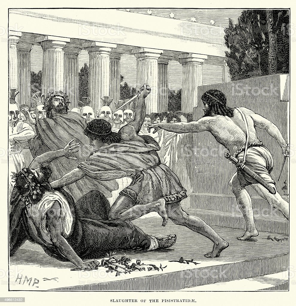 Ancient Greece - Slaughter of the Peisistratidae vector art illustration