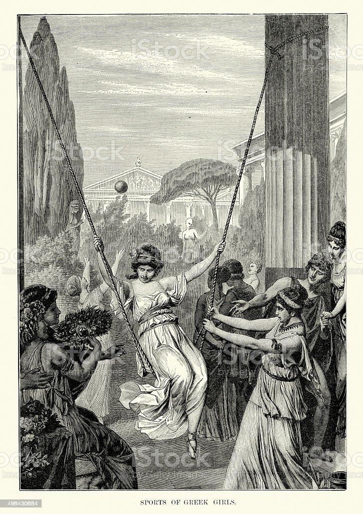 Ancient Greece - Sports of Greek Girls vector art illustration