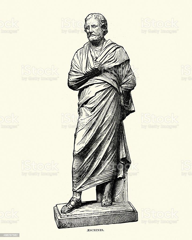 Ancient Greece - Statue of Aeschines vector art illustration
