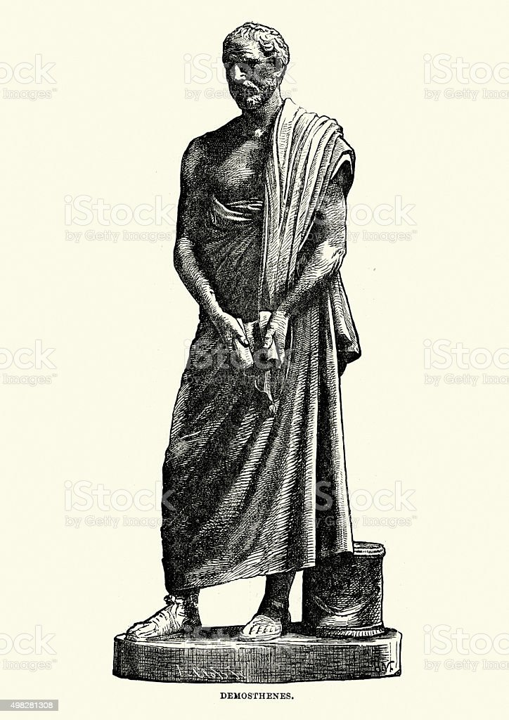 Ancient Greece - Statue of Demosthenes vector art illustration