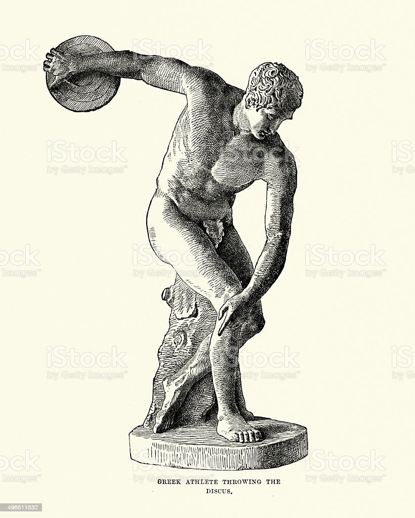 Ancient Greek Athlete throwing the Discus vector art illustration