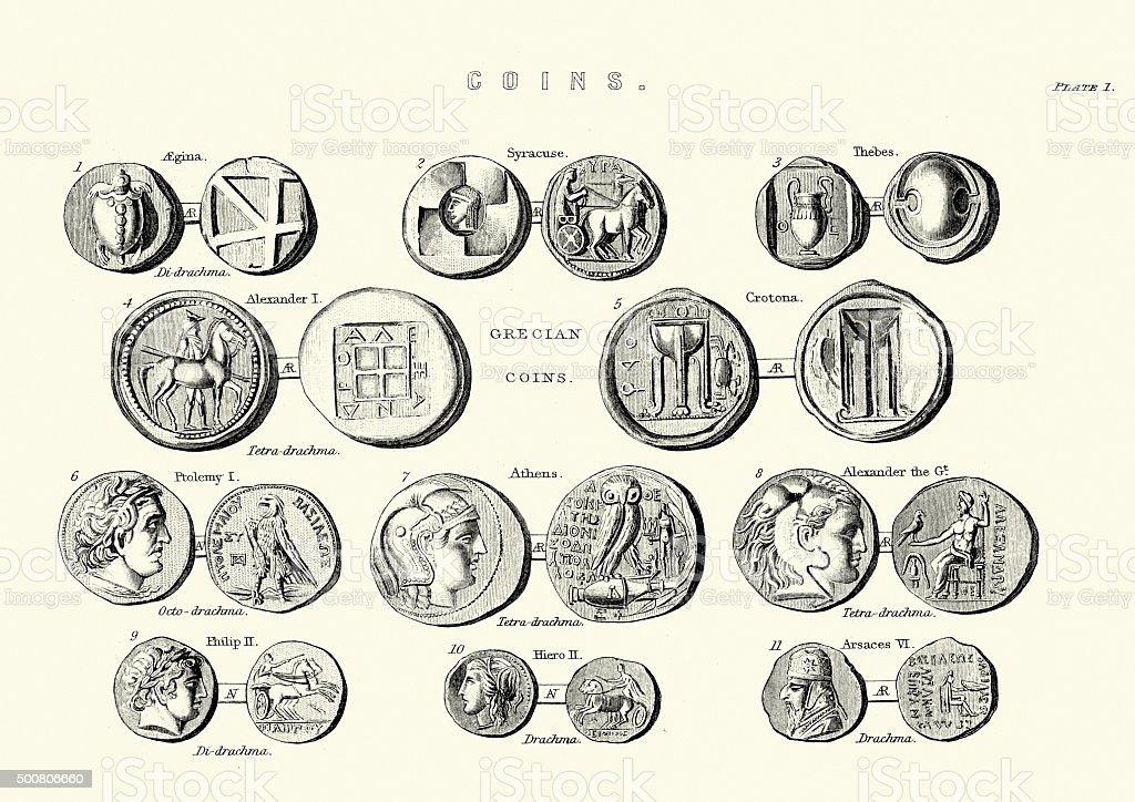 Ancient Greek Coins vector art illustration