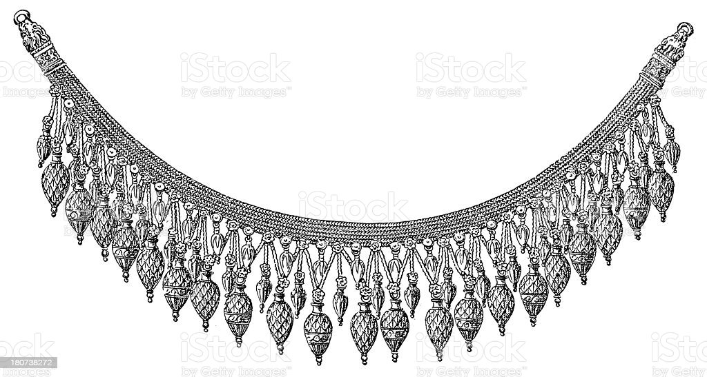 Ancient Greek necklace (antique wood engraving) royalty-free stock vector art
