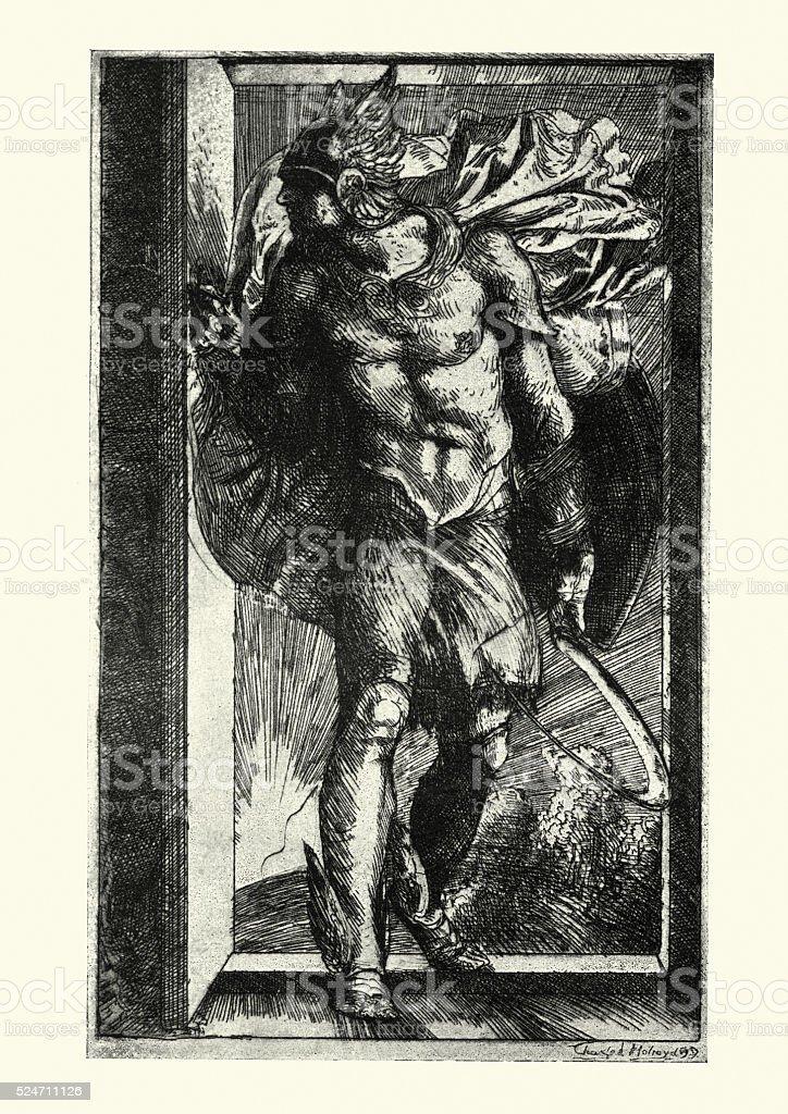 Ancient Greek Olympian God - Hermes vector art illustration