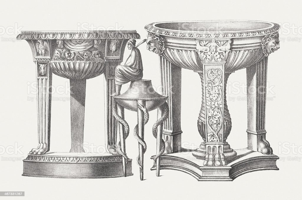 Ancient Greek tripods, lithograph, published c. 1830 royalty-free stock vector art