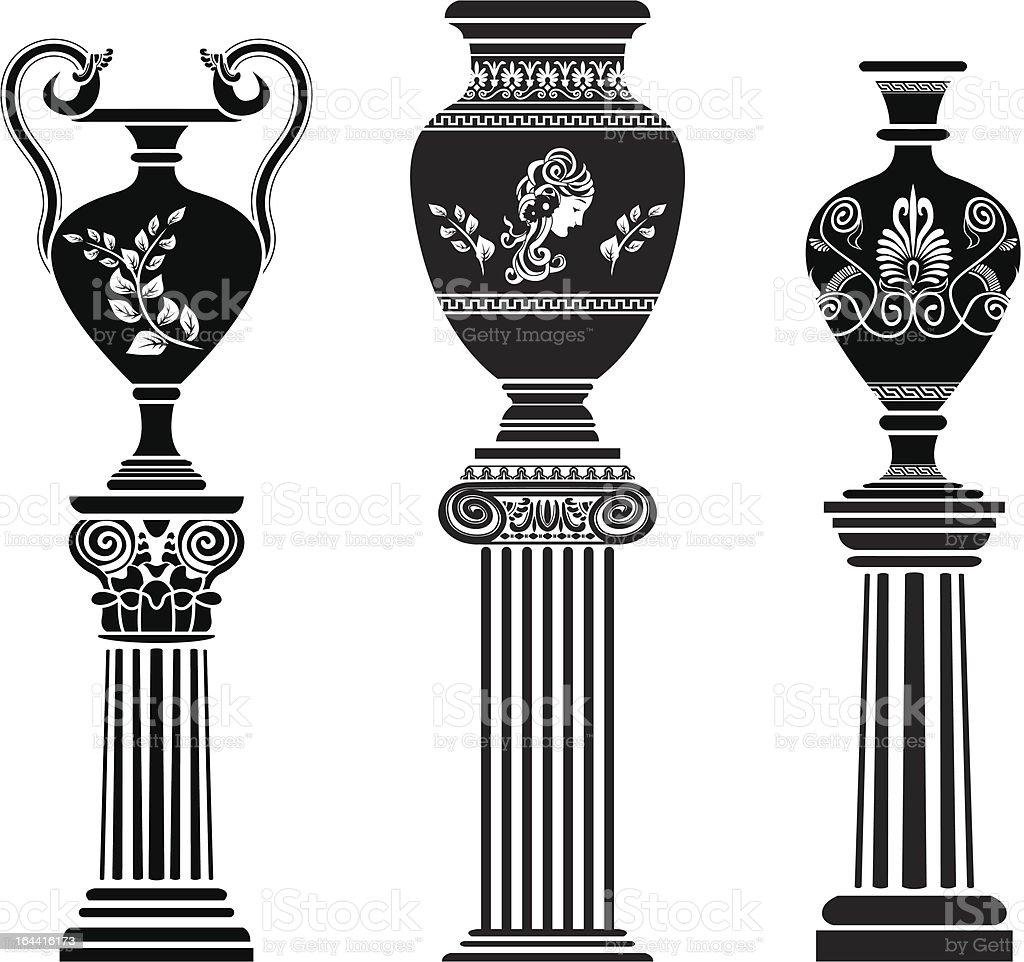 Ancient Greek vase on column vector art illustration