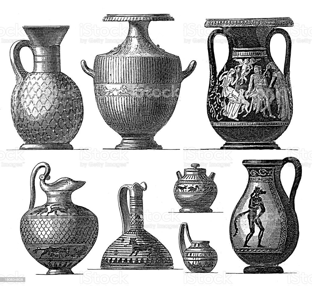Ancient Greek vases (antique wood engraving) royalty-free stock vector art