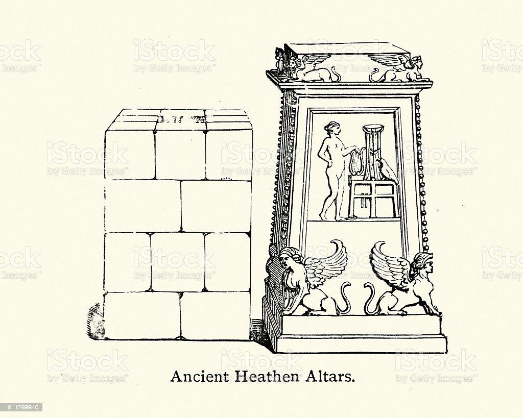 Ancient heathen alters vector art illustration