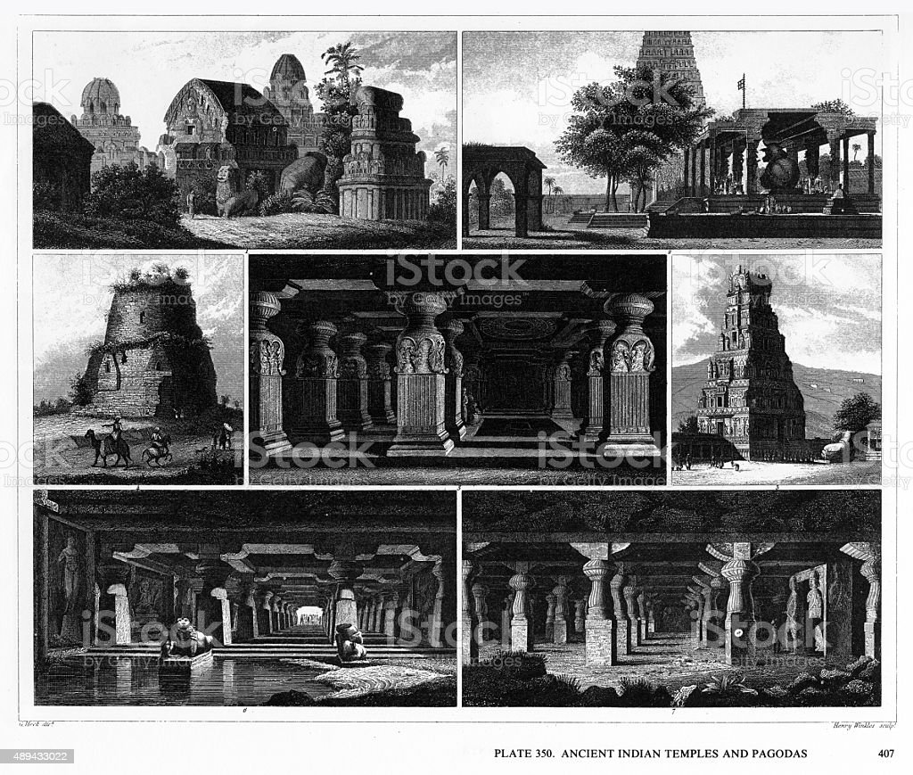 Ancient Indian Temples and Pagodas Engraving vector art illustration